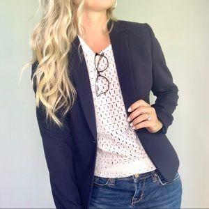 Antonio Melani Navy Blue Single Button Blazer Sz 2